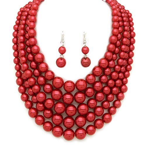 Women's Simulated Faux Pearl Five Multi-Strand Statement Necklace and Earrings Set (Red Wine) (Trendy Pearl Set)