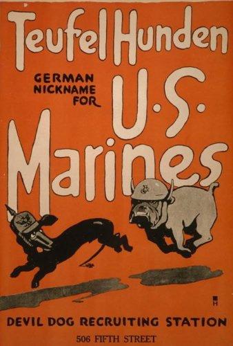 VintPrint World War I Poster - Teufel hunden German nickname for U.S. Marines Devil dog recruiting station 506 Fifth Street]()