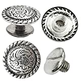 """10 Pack 1/2"""" Antiqued Silver Engraved Concho 1/4"""" Chicago Screws Nickel"""