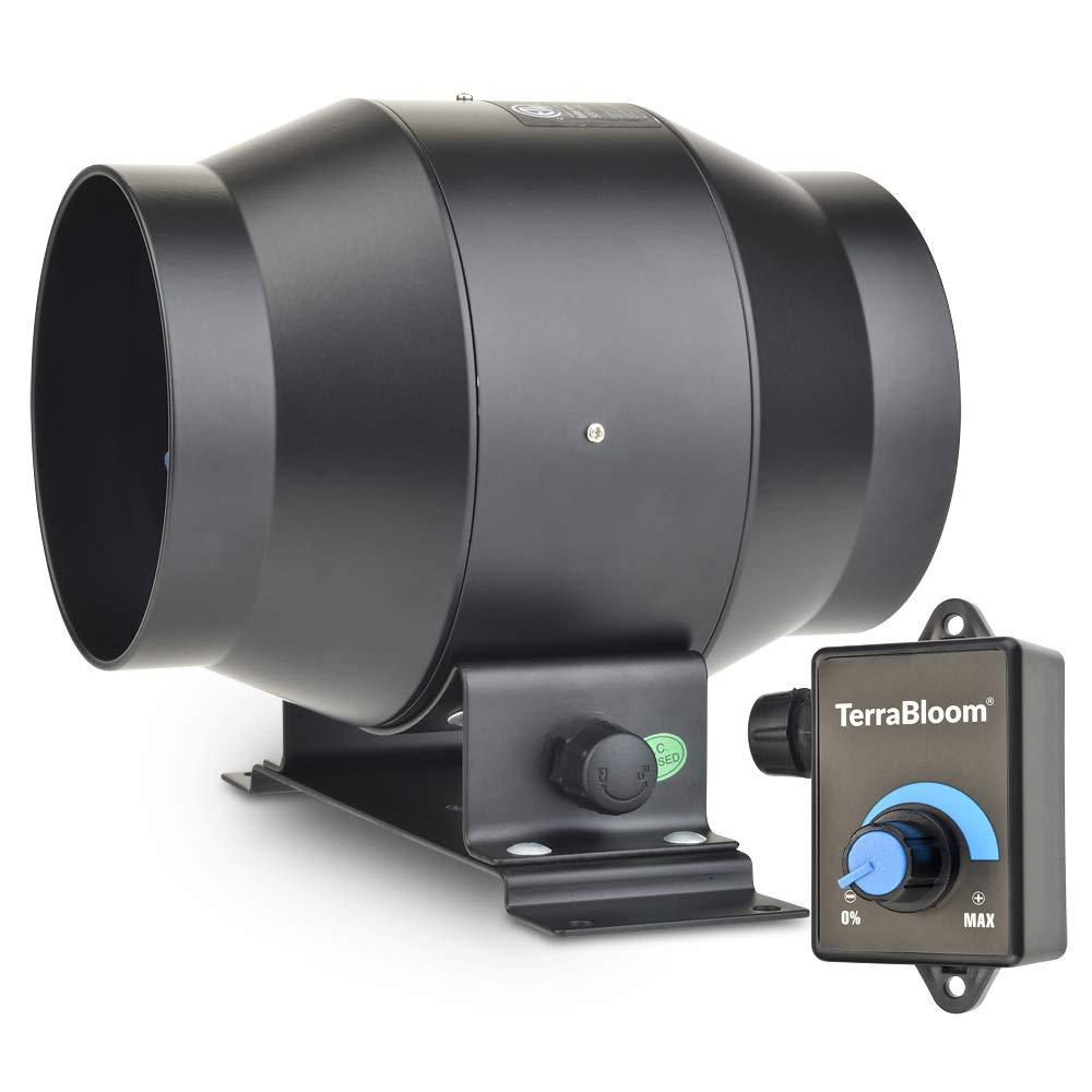 """TerraBloom 4"""" Inline Duct Fan, Quiet Energy Saving EC Motor with 0-100% Adjustable Speed Controller. 160 CFM, 18W."""