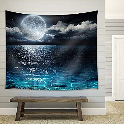 Magical Night View on The Sea - Fabric Tapestry, Home Decor - 68x80 inches