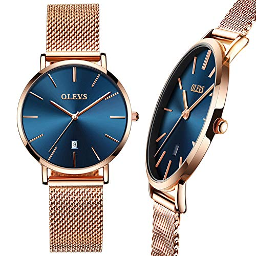 OLEVS Women Wrist Watch,Watch Women Rose Gold Blue Dial Thin,Dress Watches for Women,Water Resistant Watches for Women with Date,Mesh Strap Women Watch,Casual Ultra Thin Wristwatch
