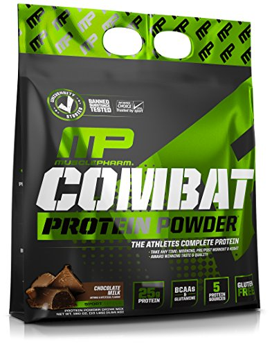 MusclePharm Combat Protein Powder - Essential blend of Whey, Isolate, Casein and Egg Protein with BCAA's and Glutamine for Recovery, Chocolate Milk, 10 Pound (10% Milk)