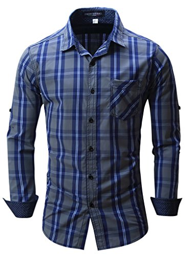 Navy Plaid Button Down Shirt (Shirts, Cokle Men Slim Fit Long Sleeve Casual Blouses Plaid Button Down #102 Navy Blue EUR XL (US)