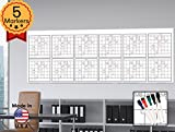 """Large Oversized Yearly Wall Calendar - 36"""" x 96"""" - Dry Erase Blank Reusable Annual Planner - Academic Year Office Project Schedule 12 Month Calendar Poster - Laminated Monthly Jumbo Undated 2017-2018"""