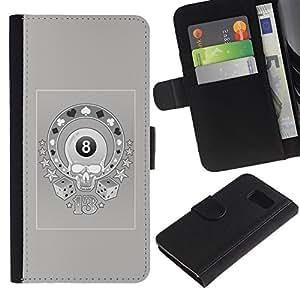 JackGot ( Magia 8 Cráneo Casino Gambling Gris ) Samsung Galaxy S6 la tarjeta de Crédito Slots PU Funda de cuero Monedero caso cubierta de piel