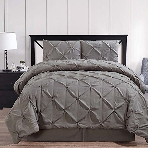 Sateen Oxford (Luxury Gray Oxford Double Needle Soft Pinch Pleated Down Alternative Comforter Set -California King)
