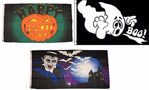 ALBATROS 3 ft x 5 ft Happy Halloween 3 Pack Flag Set #197 Combo Banner Grommets for Home and Parades, Official Party, All Weather Indoors Outdoors]()