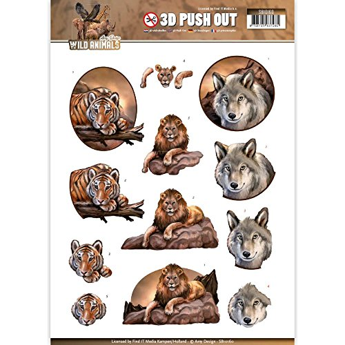 Amy Design Wild Animals 3D Push Out SB10160 Paper Tole 3-D - Decoupage 3d Paper