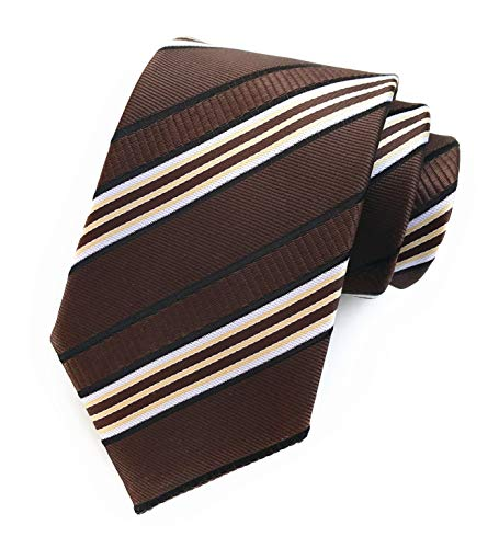 - Men's Coffee Brown White Tie Silk Luxury Unique Designer Cool Self Dress Necktie