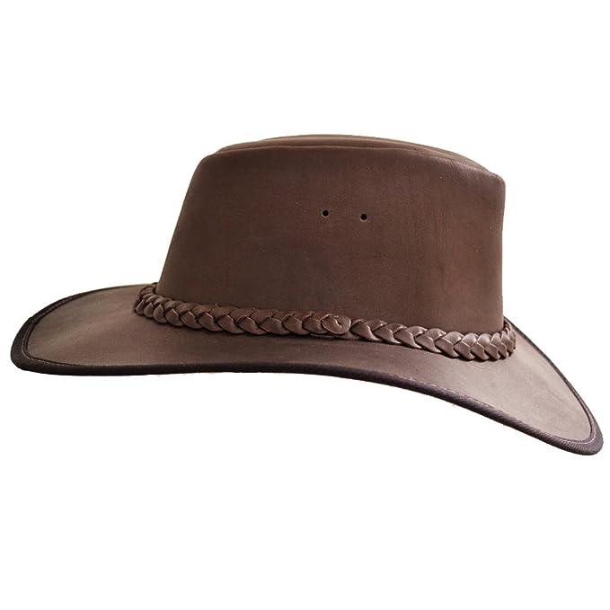 Women/'s Bushwacker Survivor Leather Hat with Plaited Band