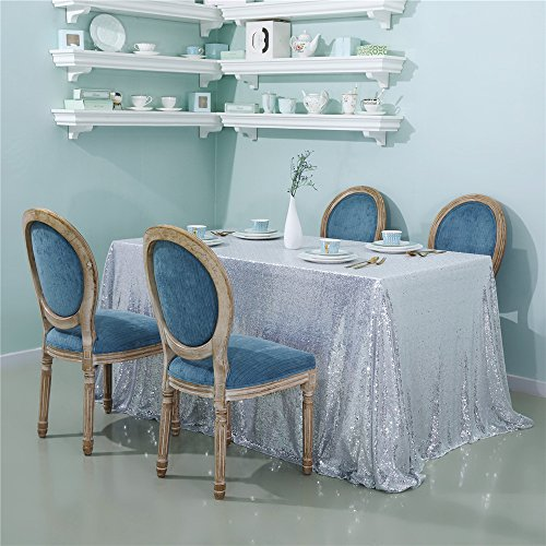Zdada Silver Dinning Room Sequin Table Cloth Sparkly Table Overlay-60 by 126inch