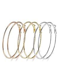 3 Pairs Big Hoop Earrings, 60mm Stainless Steel Hoop Earrings in Gold Plated Rose Gold Plated Silver for Women Girls (60mm)