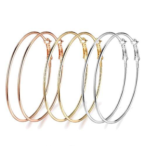 3 Pairs Big Hoop Earrings, 60mm Gold Plated Rose Gold Plated Silver Hoop Earrings for Women Girls