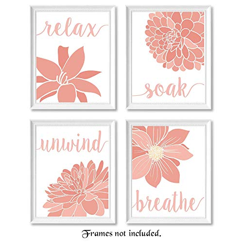 Relax, Soak, Unwind, Breathe Pink and White Bath Flower Signs Art Poster Prints- Set of 4 (Four 8x10) Unframed Photos- Great Wall Art Decor Gifts Under $20 for Bathroom, Apartment, Studio ()