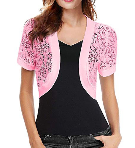 Short Sleeve Lace Bolero Jacket for Women Dresses Shrug(Pink,XXL) ()