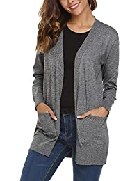 Women's Open Front Knit Cardigan Sweater with Pockets
