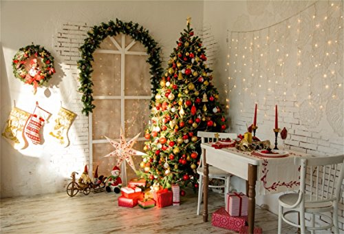 AOFOTO 8x6ft Christmas Tree Backdrop Xmas Wreath Interior Photography Background Girl Kid Family Adult Artistic Portrait Happy New Year Gift Decoration Photo Shoot Studio Props Video Drop Wallpaper by AOFOTO