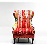 Lovely PATCHWORK DESIGN ARMCHAIR multicoloured upholstered fabric WING CHAIR from XTRADEFACTORY