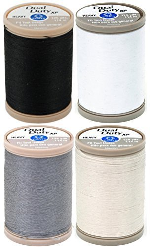 (4-PACK - Coats & Clark - Dual Duty XP Heavy Weight Thread - 4 Color Value Pack - (Black+White+Slate+Natural) 125yds)