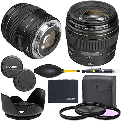 Canon EF 85mm f/1.8 USM Lens (2519A003) + AOM Bundle Package Kit - International Version (1 Year AOM Wty)