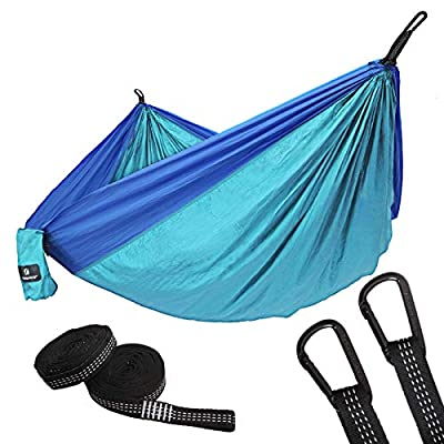 SONGMICS Ultra-Lightweight & Portable Hammock Hold up to 660LB Single & Double Parachute Nylon Camping Hammock Swing Bed 118'' x 78 Outdoor Backpacking, Hiking, Yard, Traveling UGDC20BU