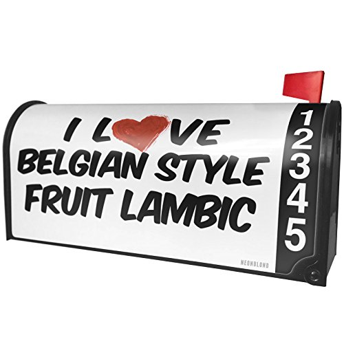 NEONBLOND I Love Belgian Style Fruit Lambic Beer Magnetic Mailbox Cover Custom Numbers