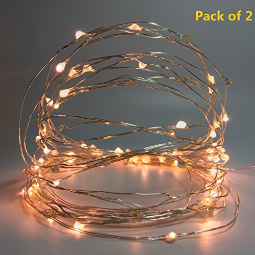 (Pack of 2) Mini Starry String Lights with Battery-Powered and Timer, Fairy Lights for Indoor,Bedroom,Parties,centerpiece Homes Decoration,Total 100Leds,36FT Silver Wire (Warm White) (String Timer Lights With)