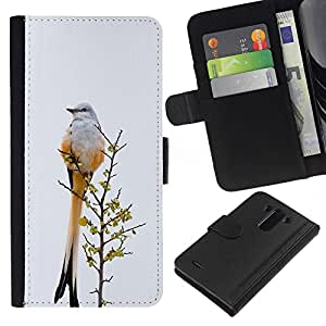 KingStore / Leather Etui en cuir / LG G3 / Plumes gris hiver Ornithologie