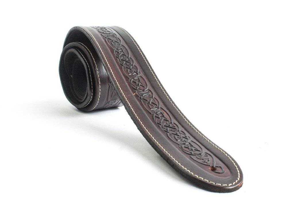 "LeatherGraft XL Walnut Brown Genuine Leather Celtic Knot Pattern Design 2"" Wide Guitar Strap - For all Electric, Acoustic, Classical and Bass Guitars LeatherGraft XL Straps XLceltknotbrown"