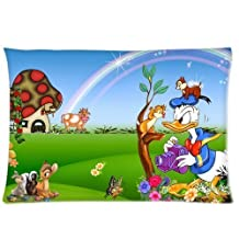 Mickey Mouse Club House Cartoon Donald Duck vs Chip and Dale Cartoon Pillowcase 20x36 (Twin sides) Zippered Rectangle PillowCases Throw Pillow Covers