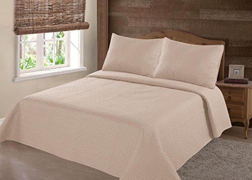 GorgeousHomeLinen (NENA) 2/3-Piece Quilt Stippling Stitches Pattern Hypoallergenic Comfortable Comfort Bedspread Bed Bedding Coverlets Cover Set with Pillow Cases (Twin, Taupe Tan)