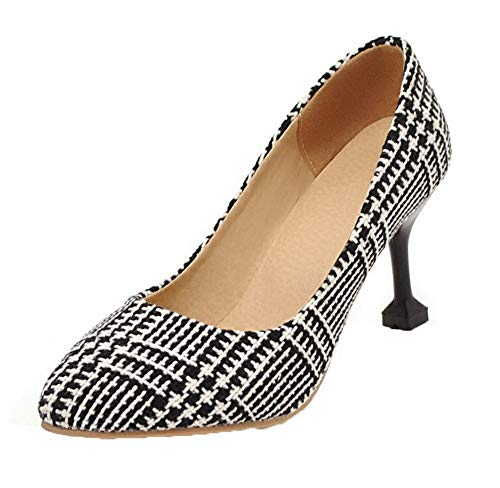 Mujeres Zapatos Tacón Puntera gmxdb007040 Alto Cordones En Negro De Tacón Agoolar Punta Sin 1gS8xgw
