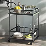 Nathan James 45001 Carter Bar and Serving Cart 2-Tiered Glass and Metal, Black