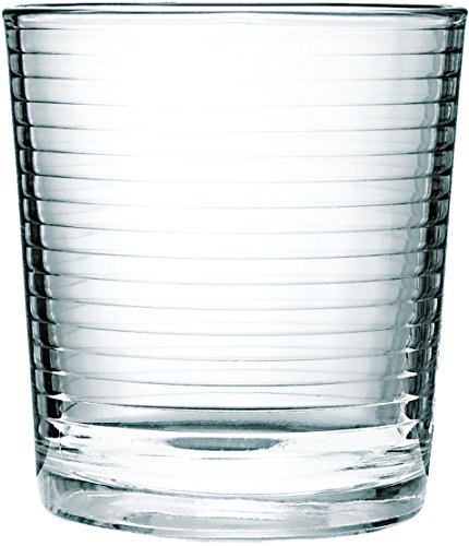 Circleware 44108 Hoop Heavy Base Whiskey Glass, Set of 4, Kitchen Entertainment Drinking Glassware for for Water, Juice, Beer and Bar Liquor Dining Decor Beverage Cups Gifts, 12.5 OZ, 4pc DOF (Set Cup Liquor)