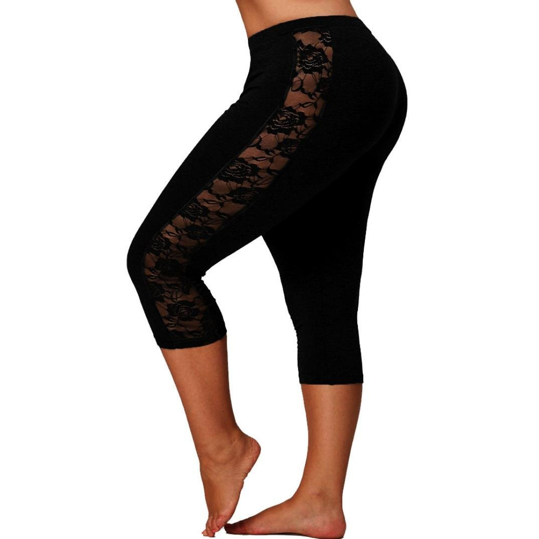 1b420e7c193dbc 2019 New Women's Plus Size Lace Leggings Skinny Capri Yoga Pants Workout  Sport Running Pants by E-Scenery (Black, XXXX-Large) at Amazon Women's  Clothing ...