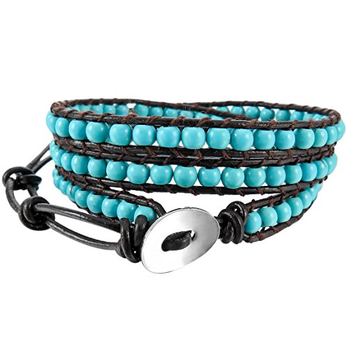 INBLUE Women,Men's Alloy Genuine Leather Bracelet Bangle Cuff Rope Simulated Turquoise Blue Black Bead 3 Wrap Adjustable - Alloy Wrap