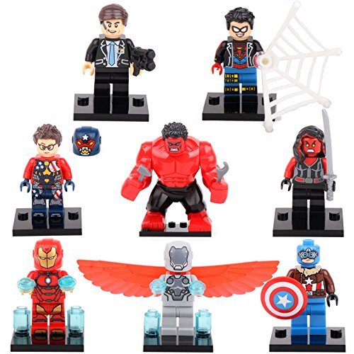 [gonggamtop Captain America Adaptoid Red Hulk Super Heroes 8 Minifigures Building Toys] (Cave Baby Girl Costumes)