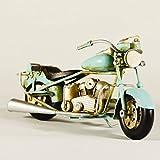 Metal Collectible Light Blue Motorcycle Model - Retro Industrial Decor - Metal Replica Decorative Bike Model - Collectible Motorbike Figurine - Tabletop Motorcycle - Retro Bike Ornament