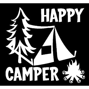 Happy-Camper-Camping-Vinyl-Decal-StickerCars-Trucks-Vans-Walls-LaptopsWHITE55-InKCD561