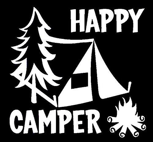 Happy-Camper-Camping-Vinyl-Decal-StickerCars-Trucks-Vans-Walls-LaptopsWHITE55-InKCD561