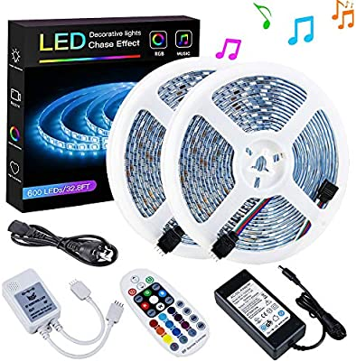 Sparke Led Strip Lights Sync To Music Waterproof 32 8ft 10m 600leds Flexible Rgb 12v Smd5050 Led Tape Light With Rf Music Controller And Ul Listed 6a Power Supply Amazon Com Au Lighting