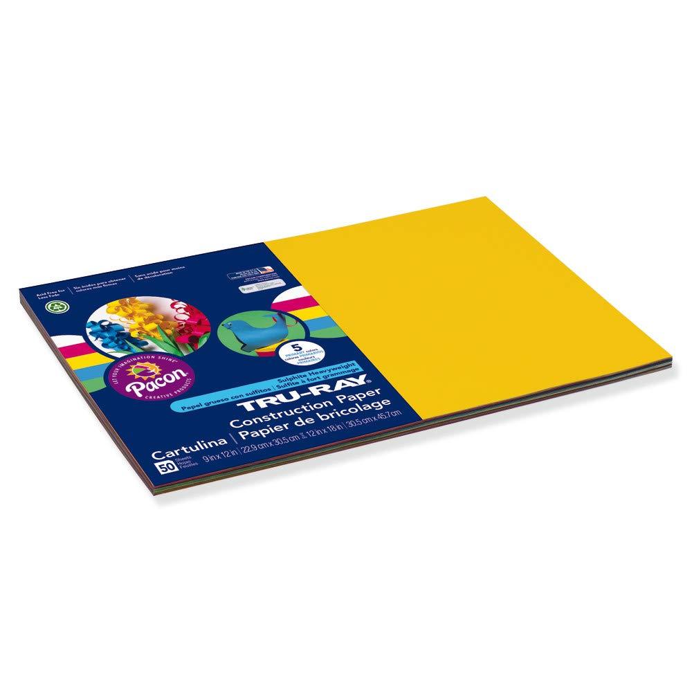 12 x 18 50 Sheets Standard Assorted Tru-Ray Heavyweight Construction Paper