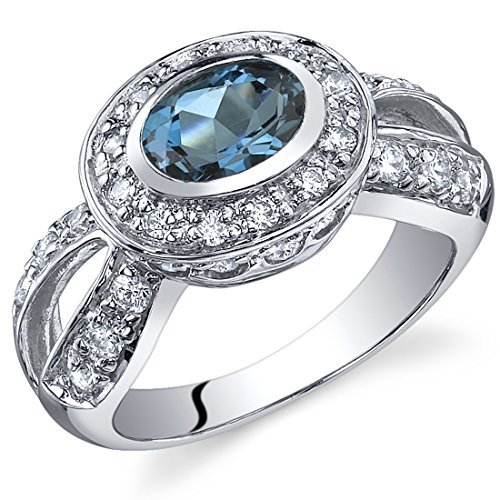 Majestic Brilliance 0.75 carats London Blue Topaz Ring in Sterling Silver Rhodium Nickel Finish Size - Ring Silver Sterling Brilliance