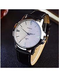 Fashion Elegant Mens Watch Quartz Analog Business Leisure Wristwatch Black Band White Dial