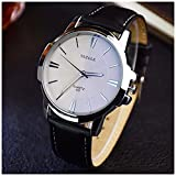 LinTimes Fashion Elegant Mens Watch Quartz Analog Business Leisure Wristwatch Black Band White Dial