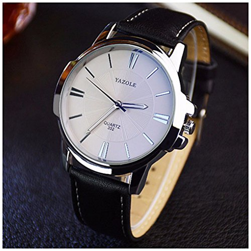 Mens Watch Black Band - LinTimes Fashion Elegant Mens Watch Quartz Analog Business Leisure Wristwatch Black Band White Dial