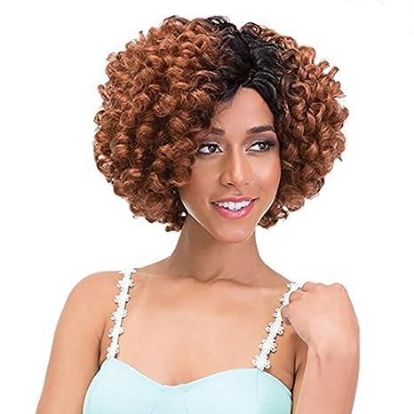 Dos tono corto sintético Pelucas de Pelo Rizado Romance rizado pelucas para las mujeres negras marrón