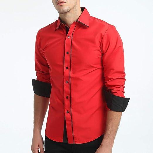 HhGold Camisa de Hombre de Manga Larga, Top Formal Formal, Liso Slim Fit con puño, Negro,