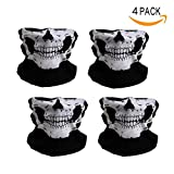 Epartswide Skull Mask Dust-Proof Windproof Half Face Mask for Outdoor Riding Motorcycle Pack of 4(Black)